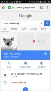 Mobile View - Bear Web Design Google My Business